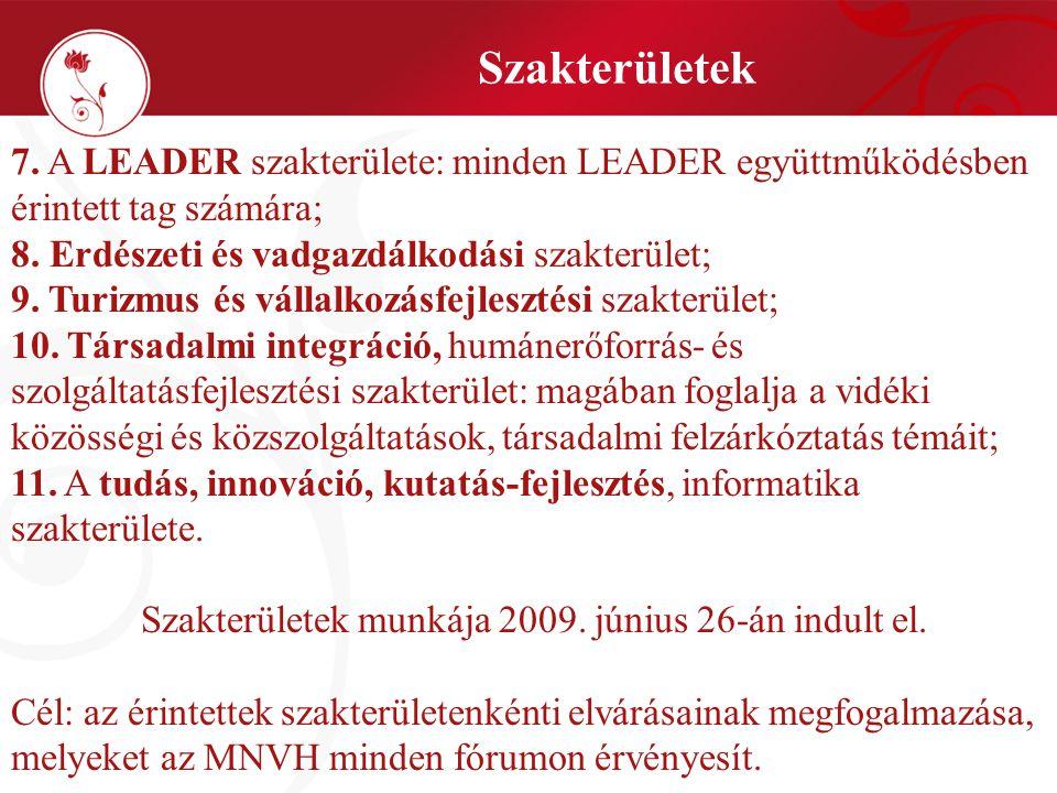 Szakterületek 7. A LEADER szakterülete: minden LEADER együttműködésben érintett tag számára; 8. Erdészeti és vadgazdálkodási szakterület; 9. Turizmus