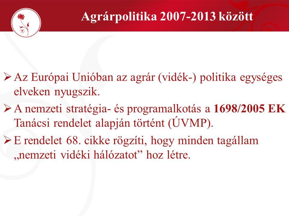  Az Európai Unióban az agrár (vidék-) politika egységes elveken nyugszik.  A nemzeti stratégia- és programalkotás a 1698/2005 EK Tanácsi rendelet al