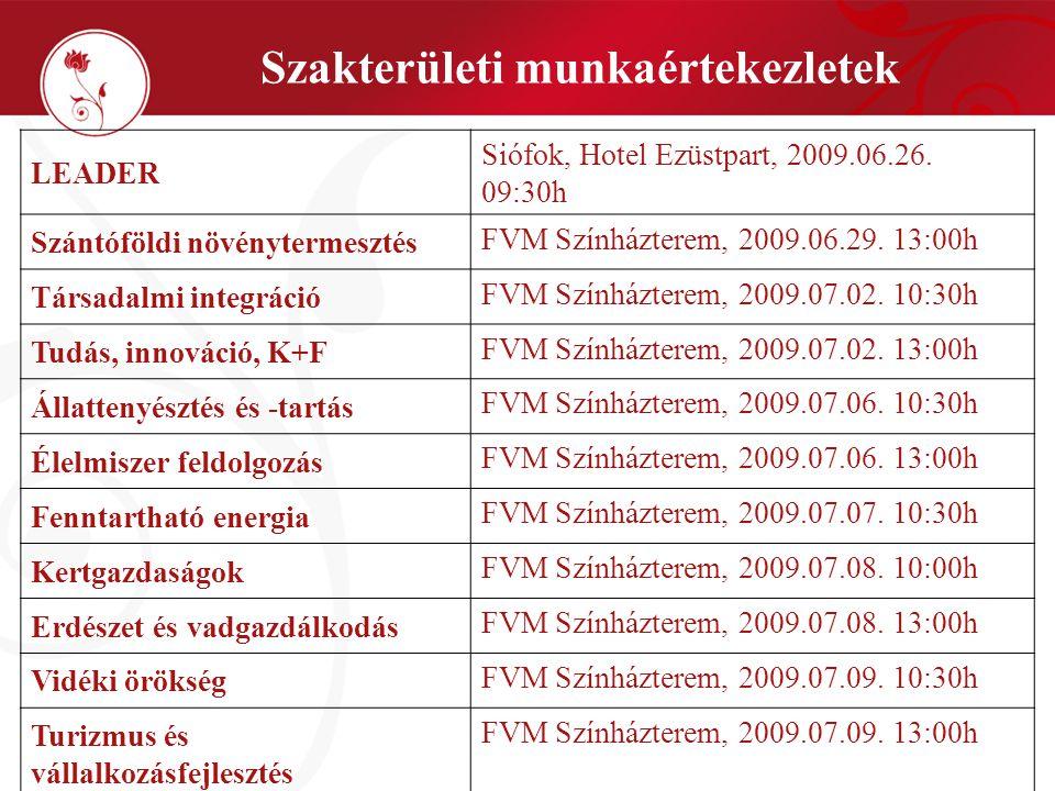 Szakterületi munkaértekezletek LEADER Siófok, Hotel Ezüstpart, 2009.06.26.