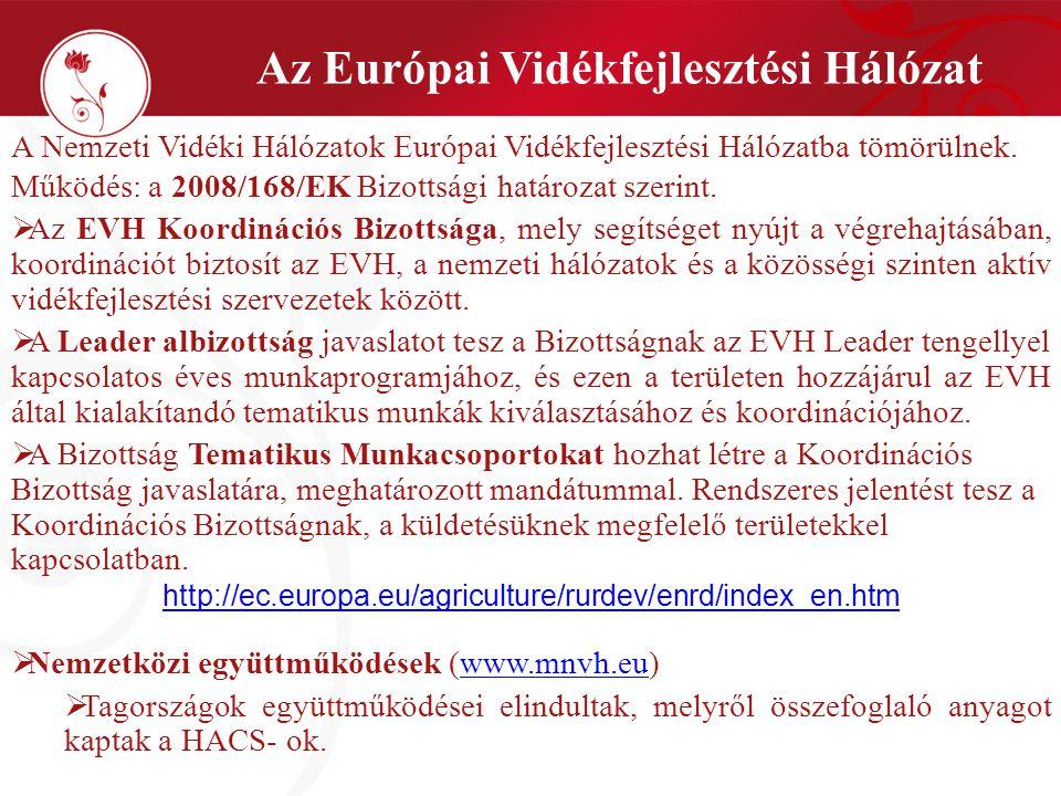 Az Európai Vidékfejlesztési Hálózat A Nemzeti Vidéki Hálózatok Európai Vidékfejlesztési Hálózatba tömörülnek. Működés: a 2008/168/EK Bizottsági határo