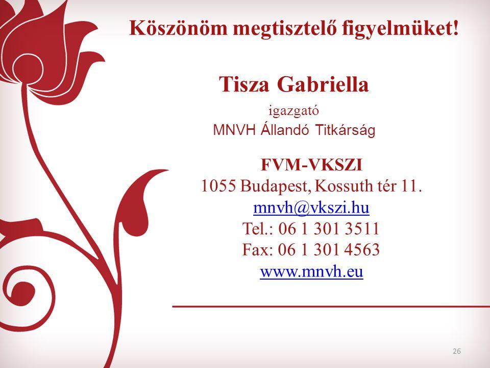 26 Köszönöm megtisztelő figyelmüket! Tisza Gabriella igazgató MNVH Állandó Titkárság FVM-VKSZI 1055 Budapest, Kossuth tér 11. mnvh@vkszi.hu Tel.: 06 1