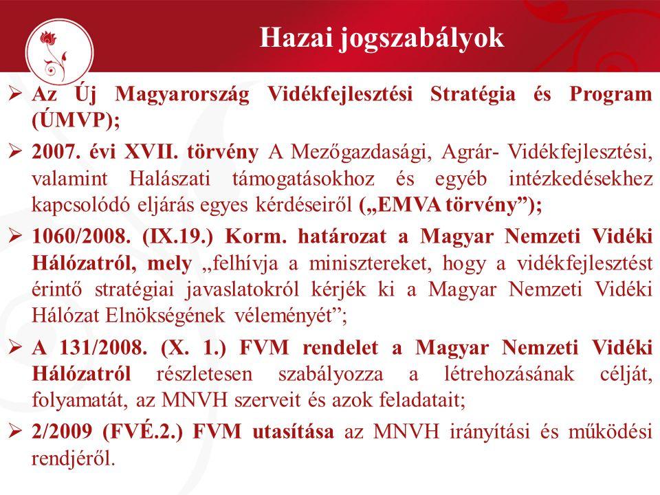  Az Új Magyarország Vidékfejlesztési Stratégia és Program (ÚMVP);  2007. évi XVII. törvény A Mezőgazdasági, Agrár- Vidékfejlesztési, valamint Halász