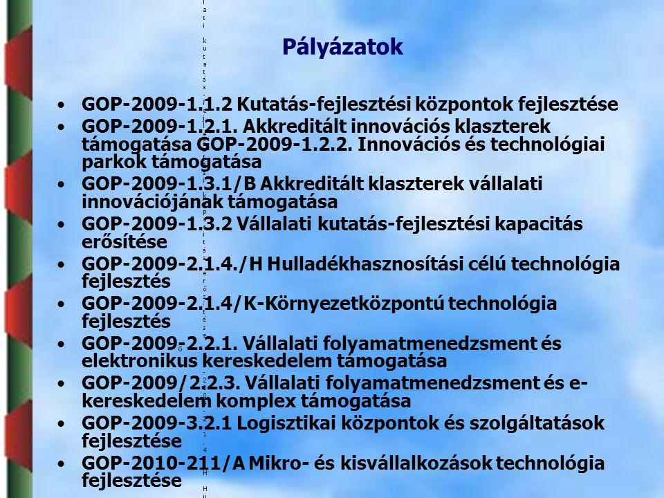 •1 •2 •3 •4 •5 •6 •7 Sorok száma : 69 (11 - 20) Pályázat megnevezésePályázat megnevezése GOP-2009-1.1.2 Kutatás-fejlesztési központok fejlesztése GOP-2009-1.1.2 Kutatás-fejlesztési központok fejlesztése GOP-2009-1.2.1.