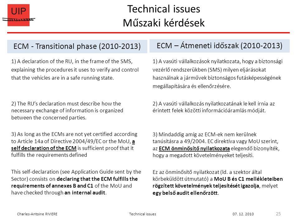 Technical issues Műszaki kérdések 25 Charles-Antoine RIVIERETechnical issues07.