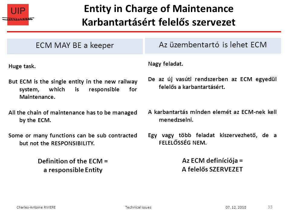Huge task. But ECM is the single entity in the new railway system, which is responsible for Maintenance. All the chain of maintenance has to be manage