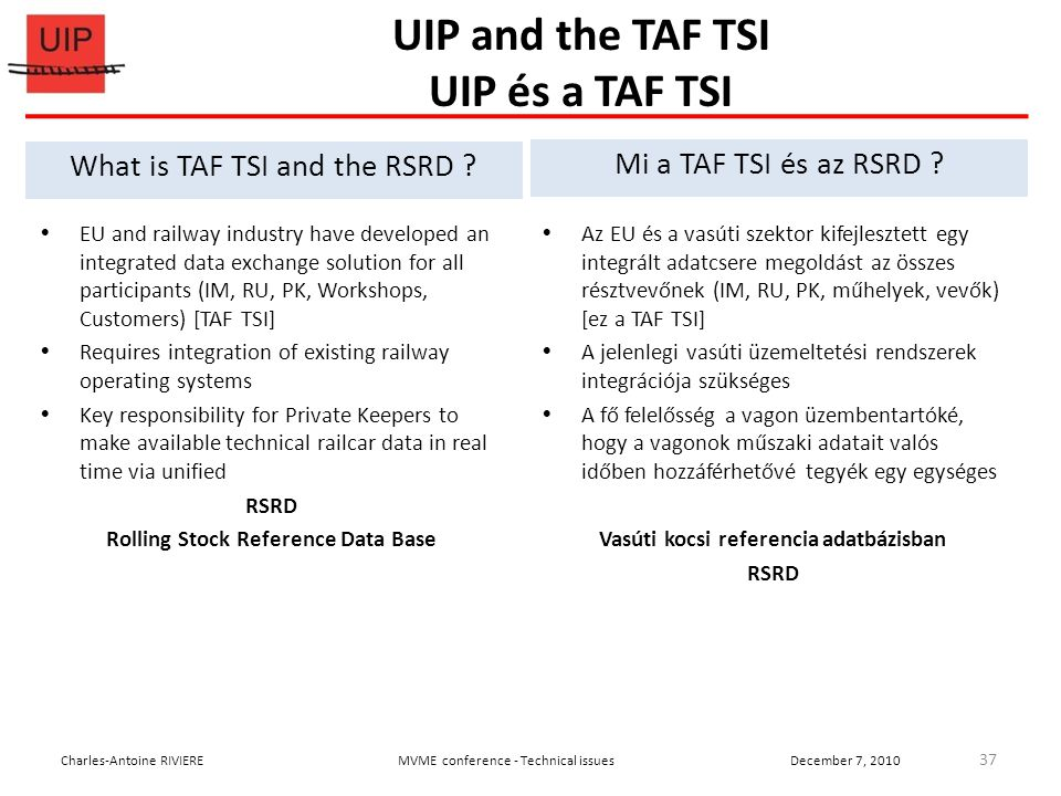 UIP and the TAF TSI UIP és a TAF TSI  EU and railway industry have developed an integrated data exchange solution for all participants (IM, RU, PK, Workshops, Customers) [TAF TSI]  Requires integration of existing railway operating systems  Key responsibility for Private Keepers to make available technical railcar data in real time via unified RSRD Rolling Stock Reference Data Base 37 Charles-Antoine RIVIEREMVME conference - Technical issuesDecember 7, 2010 What is TAF TSI and the RSRD .
