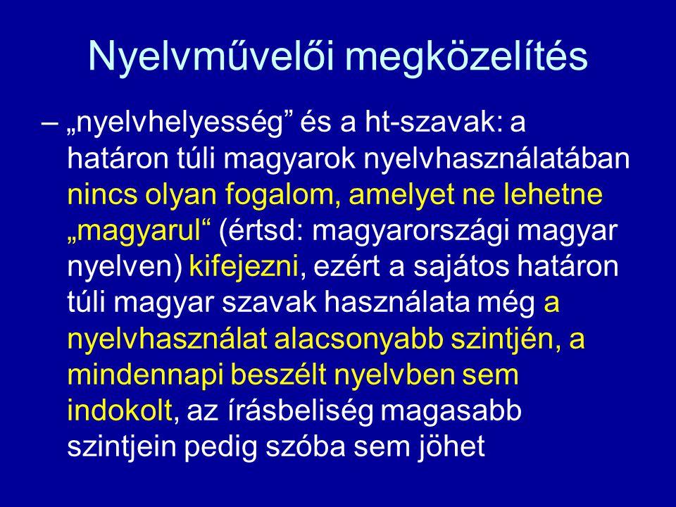 """Tájszógyűjtés – a Magyar Nyelvjárások Atlasza gyűjtési munkálatai során az Atlasz munkatársai néhány Fv szót is följegyeztek (tájszóként) és közre is adtak a szlovákiai kutatópontok tájszavai közt – nem tudni, hogy tudatában voltak-e annak, hogy ezek nem """"ártatlan tájszavak, hanem a nyelvművelők által megbélyegzett elemek"""