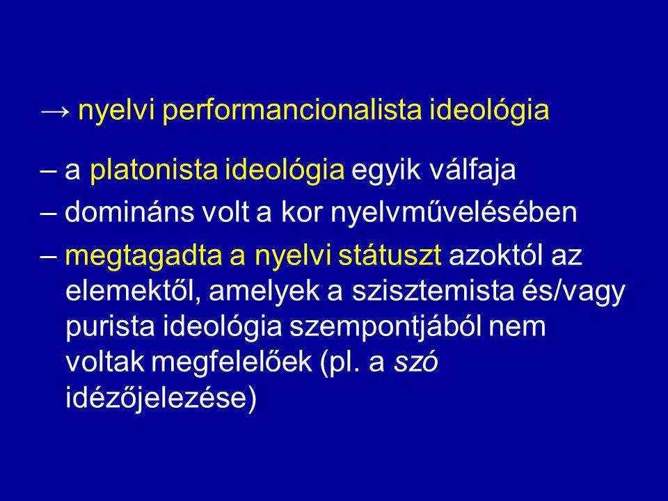 """a) közvetlen kölcsönszavak: nagyfokú elutasítás (nem magyar szavak, sőt nem is szavak) b) közvetett kölcsönszavak: – egy részük: """"fordítási hiba – más részüket: kényszerűségből elfogadták ."""