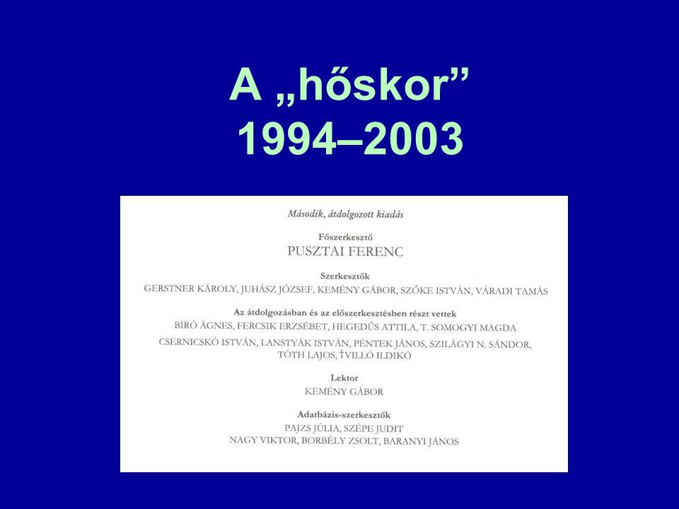 – Pusztai Ferenc 1994. Leíró lexikográfiánk változó és változatlan feladatai.