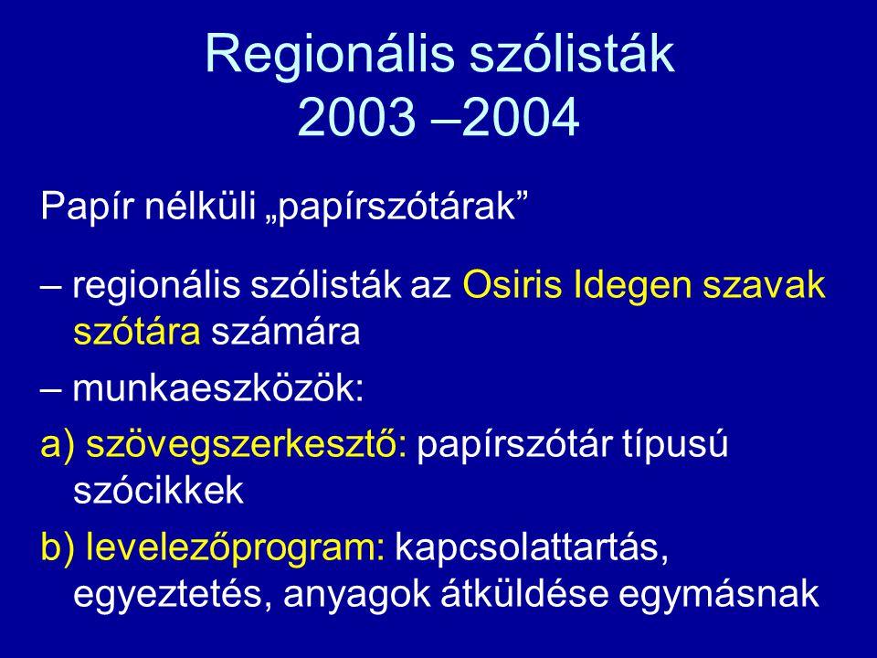 """A """"papír nélküli papírszótár korszaka (2003—2007)"""