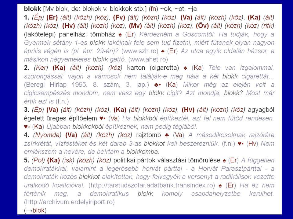 """A Termini-szótár és adatbázis """"blokk szócikkének 1.változata (két-két példamondattal)"""