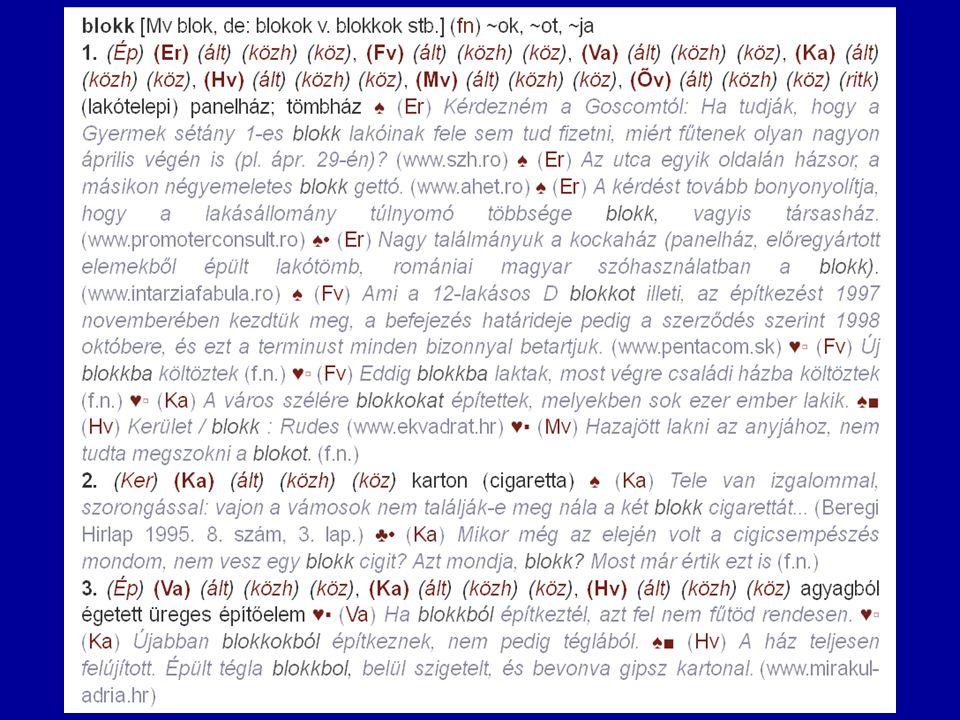 """A Termini-szótár és adatbázis """"blokk szócikkének 2.változata (az összes példamondattal)"""