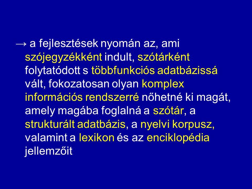 d) a beszélt nyelvi példamondatok meghallgathatósága e) a szótárban közölt elemekre vonatkozó bibliográfia létrehozása, ill.