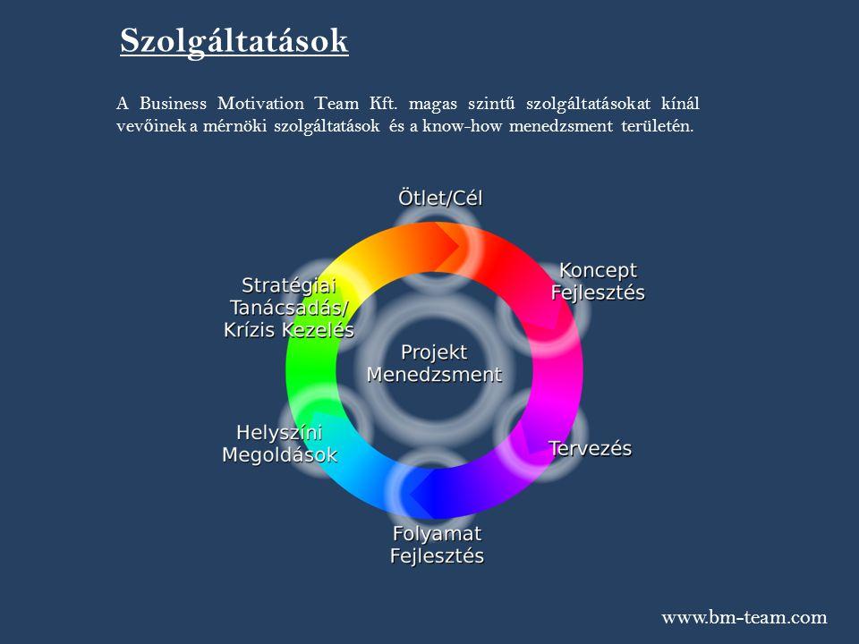 www.bm-team.com Szolgáltatások A Business Motivation Team Kft. magas szint ű szolgáltatásokat kínál vev ő inek a mérnöki szolgáltatások és a know-how