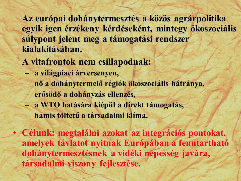 Dohánytermesztésben dolgozók száma 2006 OrszágFoglalkoztatottak száma Franciaország22 878 Spanyolország42 494 Portugália3 327 Olaszország115 906 Németország10 217 Görögország66 750 Belgium235 EU-15261 807 Magyarország19 439 Lengyelország89 137 Szlovákia- EU-25370 383
