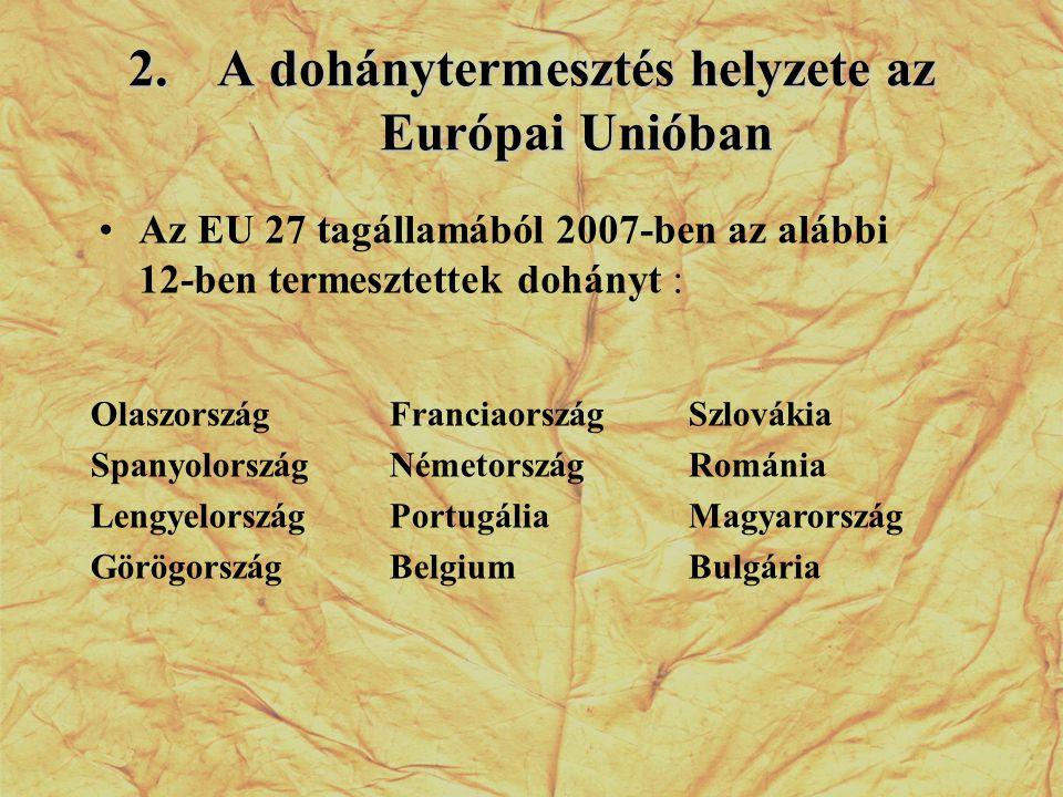 2.A dohánytermesztés helyzete az Európai Unióban •Az EU 27 tagállamából 2007-ben az alábbi 12-ben termesztettek dohányt : Olaszország Spanyolország Le