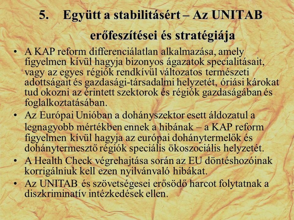 5.Együtt a stabilitásért – Az UNITAB erőfeszítései és stratégiája •A KAP reform differenciálatlan alkalmazása, amely figyelmen kívül hagyja bizonyos á