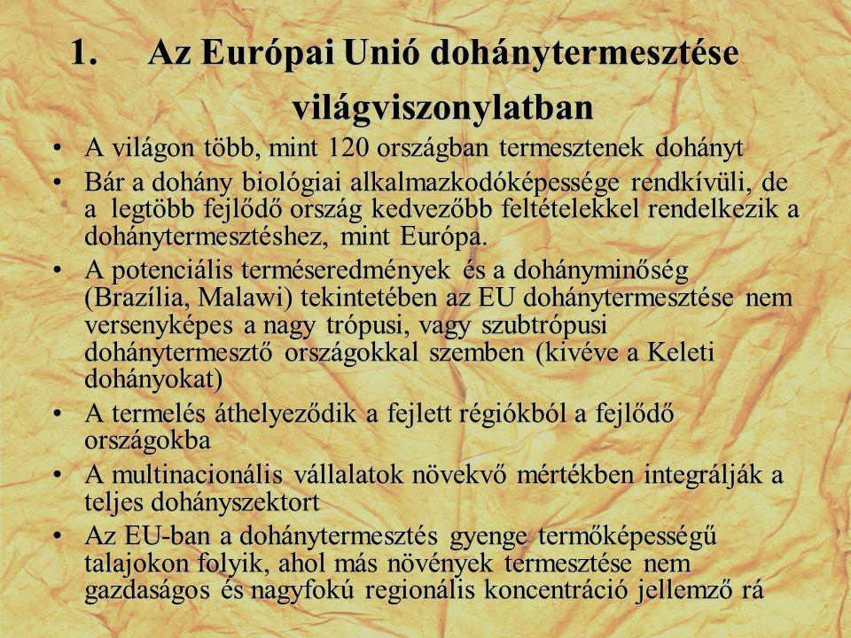 A dohány termőterület és a termésmennyiség alakulása az EU tagállamokban FCV Tagállam Szerződött területMennyiség 2001-20052006Változás2001-20052006Változás ha%ton% Németország24291927-20,75030619623,2 Görögország12462220-98,242105713-98,3 Spanyolország86467611-12,02960525495-13,9 Franciaország40503777-6,8112589380-16,7 Olaszország1762116406-6,94896048491-1,0 Portugália1673782-53,247842156-54,9 EU 154688230723-34,514174292431-34,8 Magyarország3387405519,7578061957,2