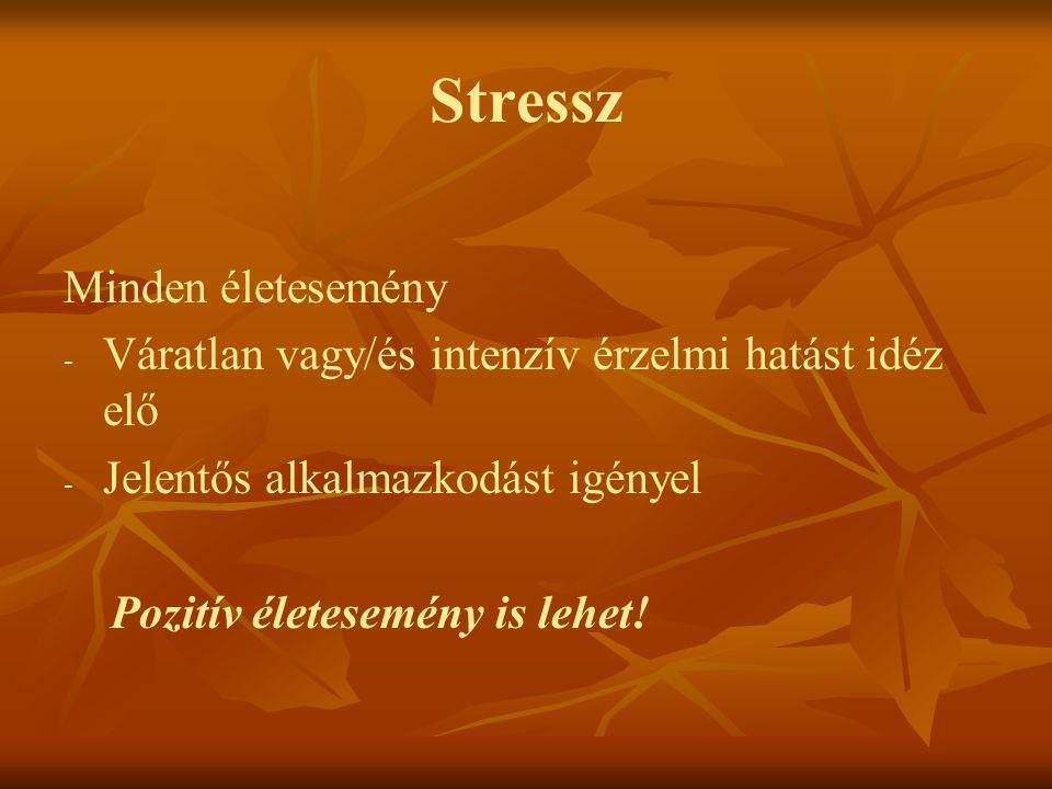 Stressz Minden életesemény - - Váratlan vagy/és intenzív érzelmi hatást idéz elő - - Jelentős alkalmazkodást igényel Pozitív életesemény is lehet!