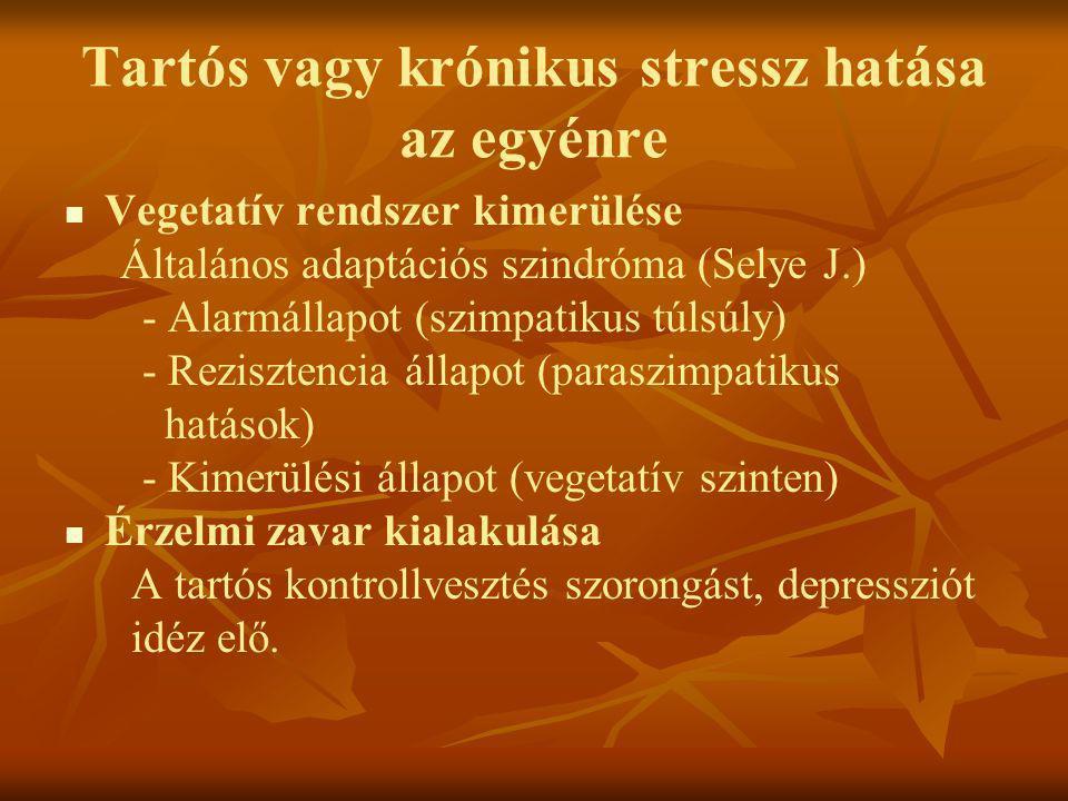Tartós vagy krónikus stressz hatása az egyénre   Vegetatív rendszer kimerülése Általános adaptációs szindróma (Selye J.) - Alarmállapot (szimpatikus