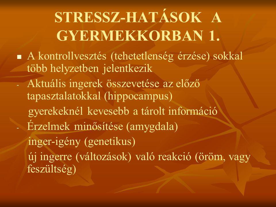 STRESSZ-HATÁSOK A GYERMEKKORBAN 1.   A kontrollvesztés (tehetetlenség érzése) sokkal több helyzetben jelentkezik - - Aktuális ingerek összevetése az