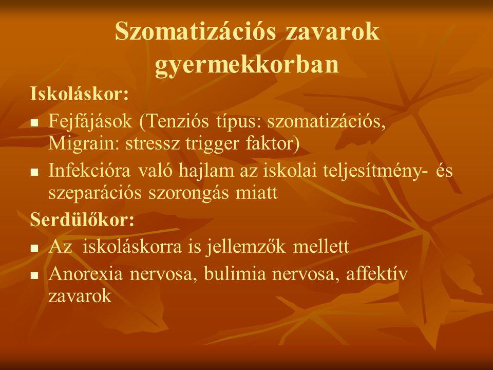 Szomatizációs zavarok gyermekkorban Iskoláskor:   Fejfájások (Tenziós típus: szomatizációs, Migrain: stressz trigger faktor)   Infekcióra való haj