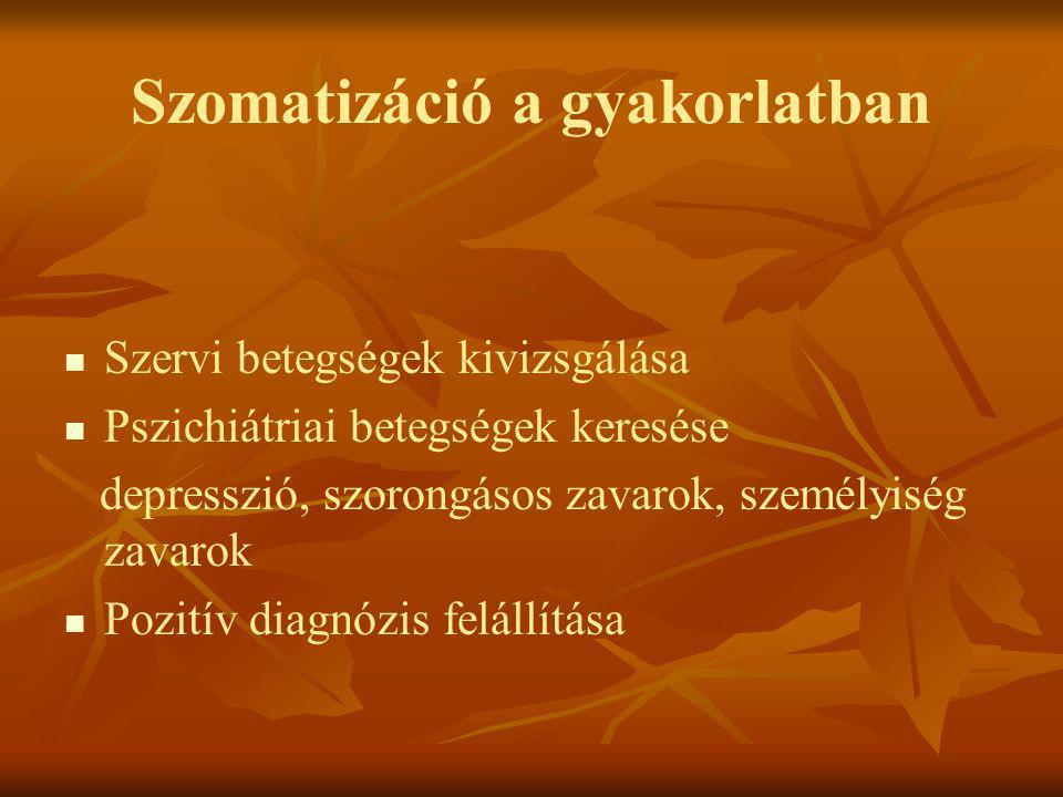 Szomatizáció a gyakorlatban   Szervi betegségek kivizsgálása   Pszichiátriai betegségek keresése depresszió, szorongásos zavarok, személyiség zava