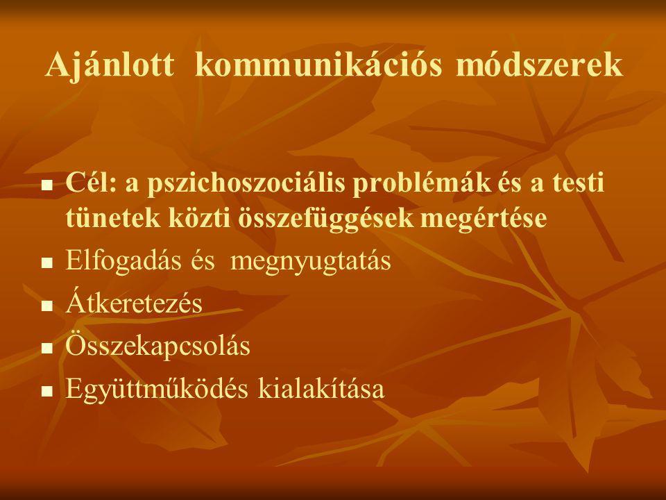 Ajánlott kommunikációs módszerek   Cél: a pszichoszociális problémák és a testi tünetek közti összefüggések megértése   Elfogadás és megnyugtatás