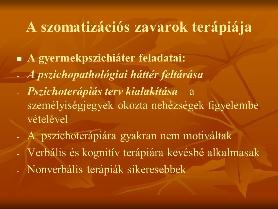 A szomatizációs zavarok terápiája   A gyermekpszichiáter feladatai: - - A pszichopathológiai háttér feltárása - - Pszichoterápiás terv kialakítása –