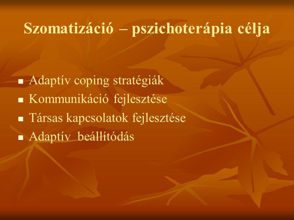 Szomatizáció – pszichoterápia célja   Adaptív coping stratégiák   Kommunikáció fejlesztése   Társas kapcsolatok fejlesztése   Adaptív beállító