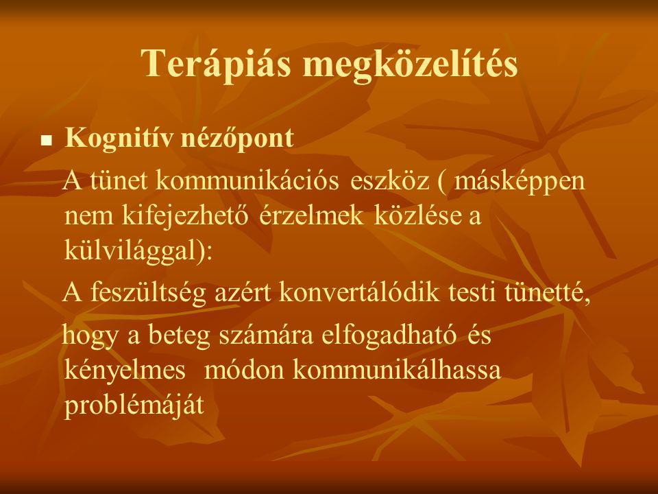 Terápiás megközelítés   Kognitív nézőpont A tünet kommunikációs eszköz ( másképpen nem kifejezhető érzelmek közlése a külvilággal): A feszültség azé