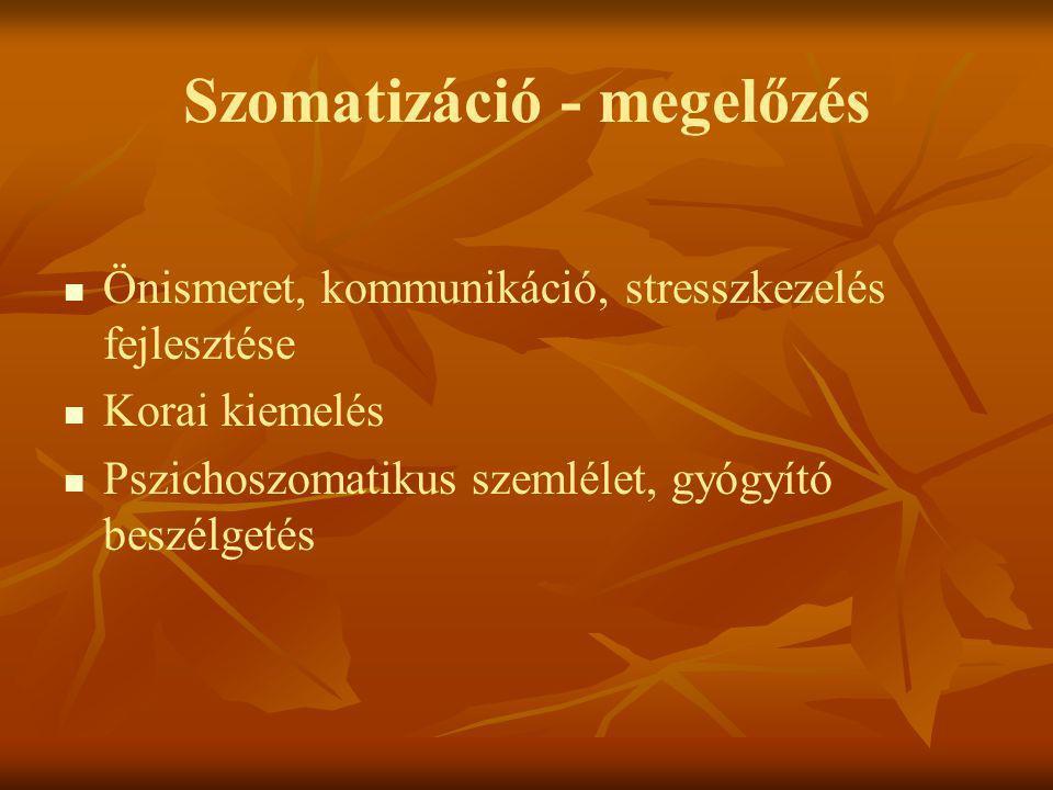 Szomatizáció - megelőzés   Önismeret, kommunikáció, stresszkezelés fejlesztése   Korai kiemelés   Pszichoszomatikus szemlélet, gyógyító beszélge