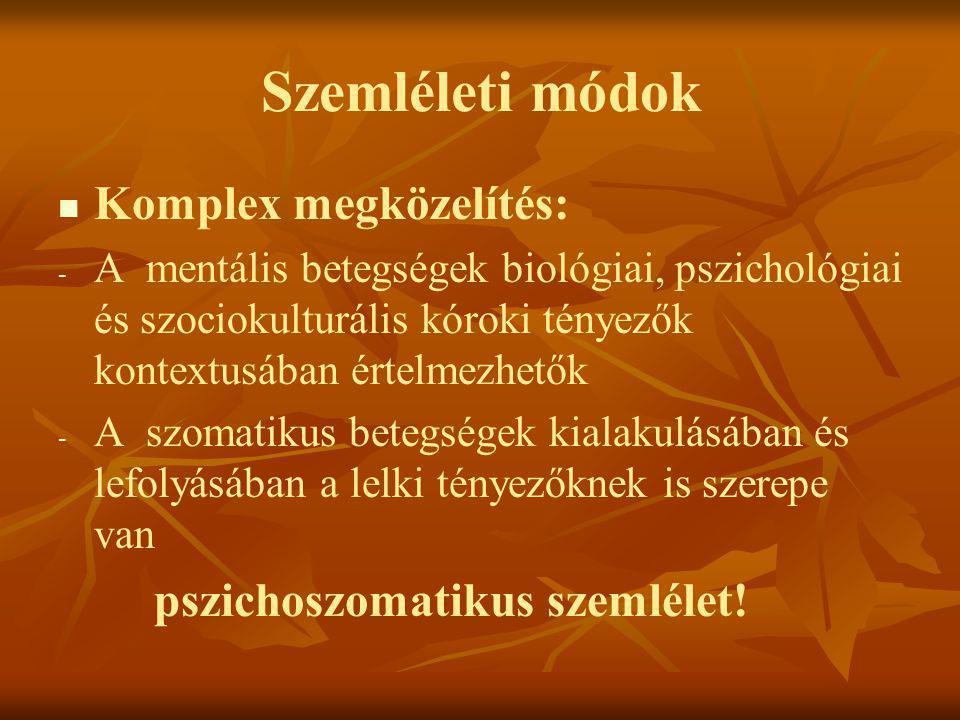 Szemléleti módok   Komplex megközelítés: - - A mentális betegségek biológiai, pszichológiai és szociokulturális kóroki tényezők kontextusában értelm