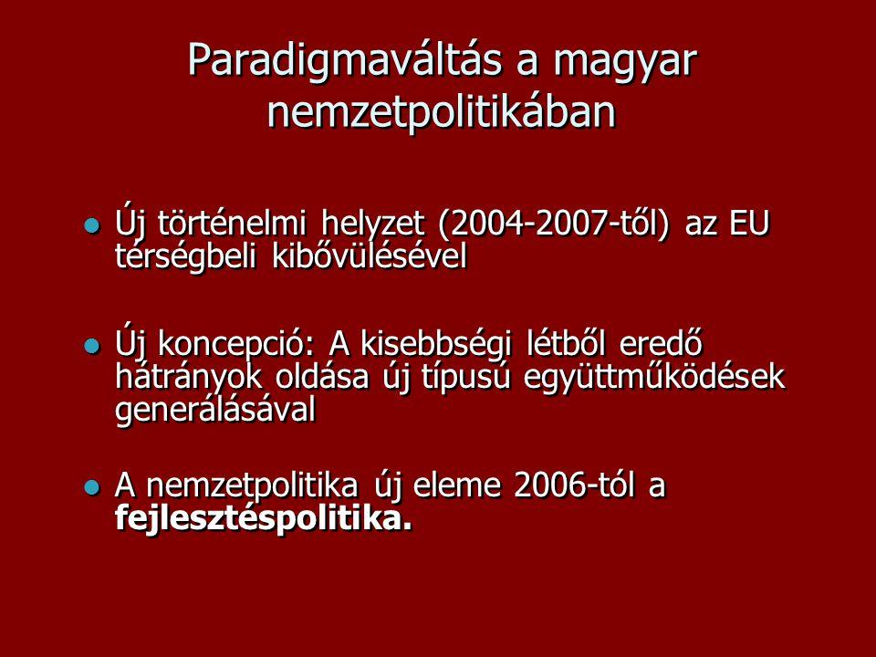 Paradigmaváltás a magyar nemzetpolitikában  Új történelmi helyzet (2004-2007-től) az EU térségbeli kibővülésével  Új koncepció: A kisebbségi létből eredő hátrányok oldása új típusú együttműködések generálásával  A nemzetpolitika új eleme 2006-tól a fejlesztéspolitika.