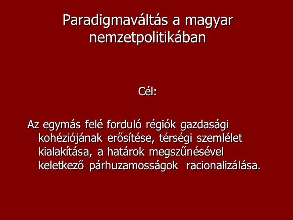 Paradigmaváltás a magyar nemzetpolitikában Cél: Az egymás felé forduló régiók gazdasági kohéziójának erősítése, térségi szemlélet kialakítása, a határ