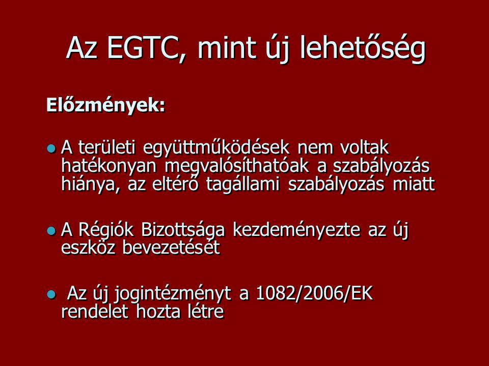 Az EGTC, mint új lehetőség Előzmények:  A területi együttműködések nem voltak hatékonyan megvalósíthatóak a szabályozás hiánya, az eltérő tagállami szabályozás miatt  A Régiók Bizottsága kezdeményezte az új eszköz bevezetését  Az új jogintézményt a 1082/2006/EK rendelet hozta létre Előzmények:  A területi együttműködések nem voltak hatékonyan megvalósíthatóak a szabályozás hiánya, az eltérő tagállami szabályozás miatt  A Régiók Bizottsága kezdeményezte az új eszköz bevezetését  Az új jogintézményt a 1082/2006/EK rendelet hozta létre
