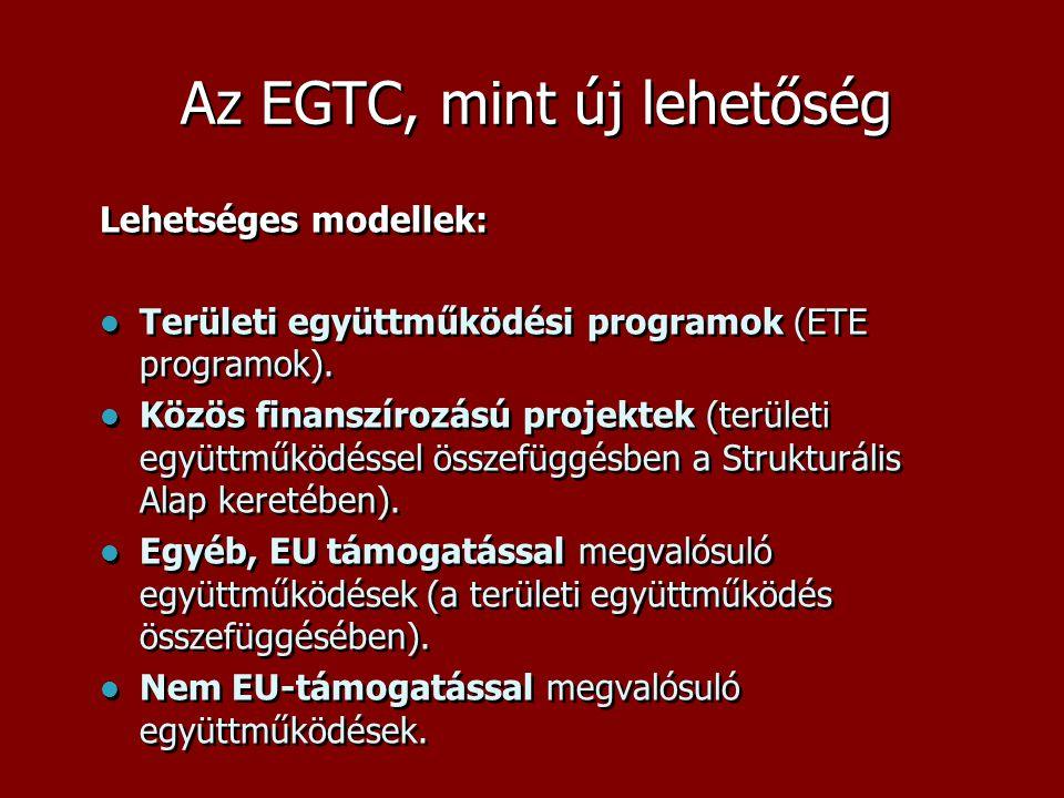 Az EGTC, mint új lehetőség Lehetséges modellek:  Területi együttműködési programok (ETE programok).  Közös finanszírozású projektek (területi együtt
