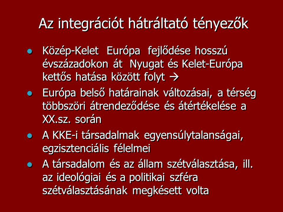 Az integrációt hátráltató tényezők  Közép-Kelet Európa fejlődése hosszú évszázadokon át Nyugat és Kelet-Európa kettős hatása között folyt   Európa belső határainak változásai, a térség többszöri átrendeződése és átértékelése a XX.sz.