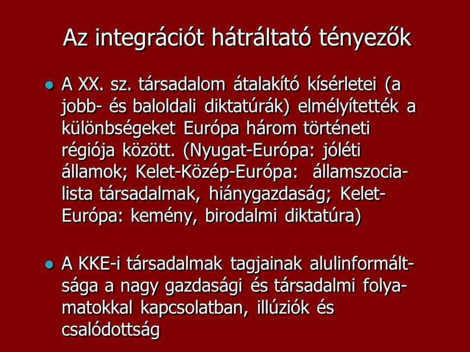 Az integrációt hátráltató tényezők  A XX. sz. társadalom átalakító kísérletei (a jobb- és baloldali diktatúrák) elmélyítették a különbségeket Európa