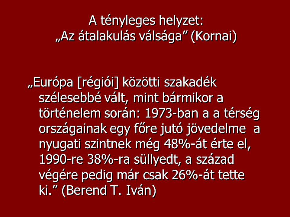 """A tényleges helyzet: """"Az átalakulás válsága (Kornai) """"Európa [régiói] közötti szakadék szélesebbé vált, mint bármikor a történelem során: 1973-ban a a térség országainak egy főre jutó jövedelme a nyugati szintnek még 48%-át érte el, 1990-re 38%-ra süllyedt, a század végére pedig már csak 26%-át tette ki. (Berend T."""