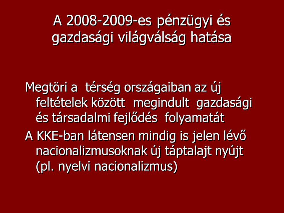 A 2008-2009-es pénzügyi és gazdasági világválság hatása Megtöri a térség országaiban az új feltételek között megindult gazdasági és társadalmi fejlődés folyamatát A KKE-ban látensen mindig is jelen lévő nacionalizmusoknak új táptalajt nyújt (pl.