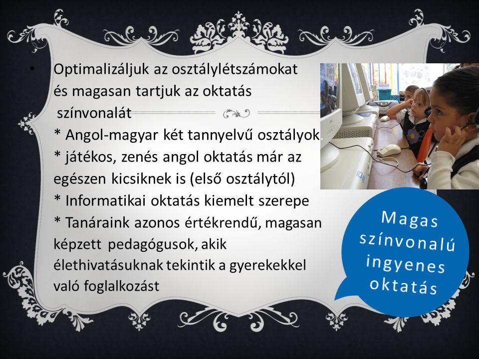 • Optimalizáljuk az osztálylétszámokat és magasan tartjuk az oktatás színvonalát. * Angol-magyar két tannyelvű osztályok. * játékos, zenés angol oktat