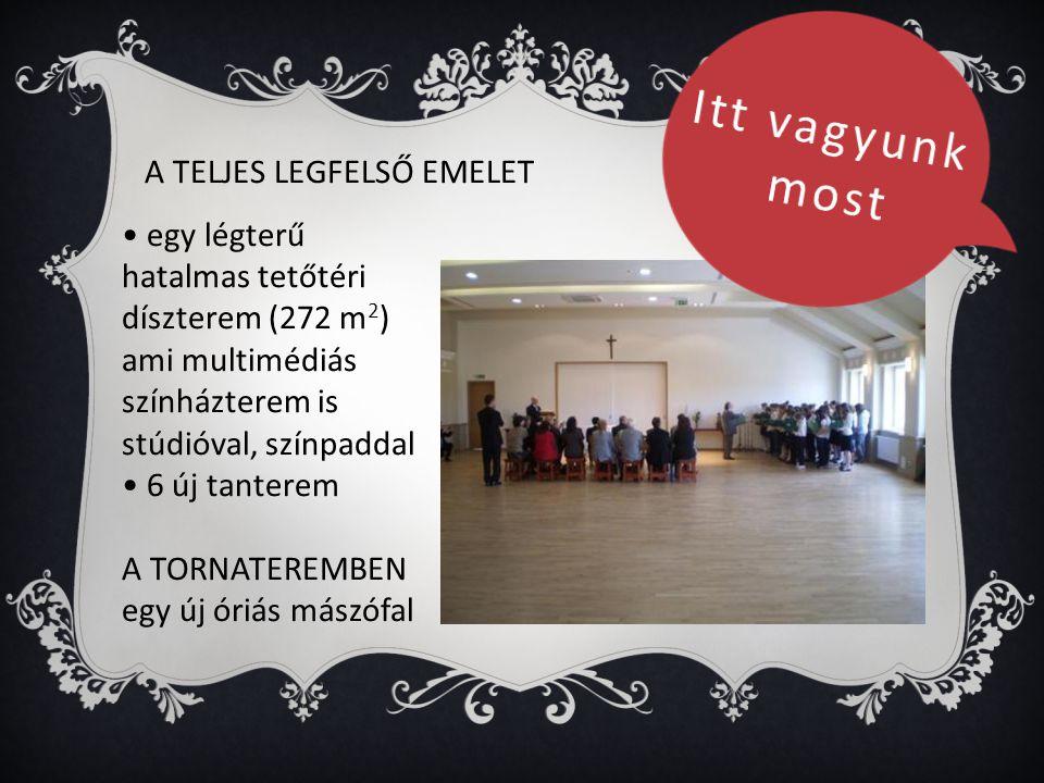 A TELJES LEGFELSŐ EMELET • egy légterű hatalmas tetőtéri díszterem (272 m 2 ) ami multimédiás színházterem is stúdióval, színpaddal • 6 új tanterem A