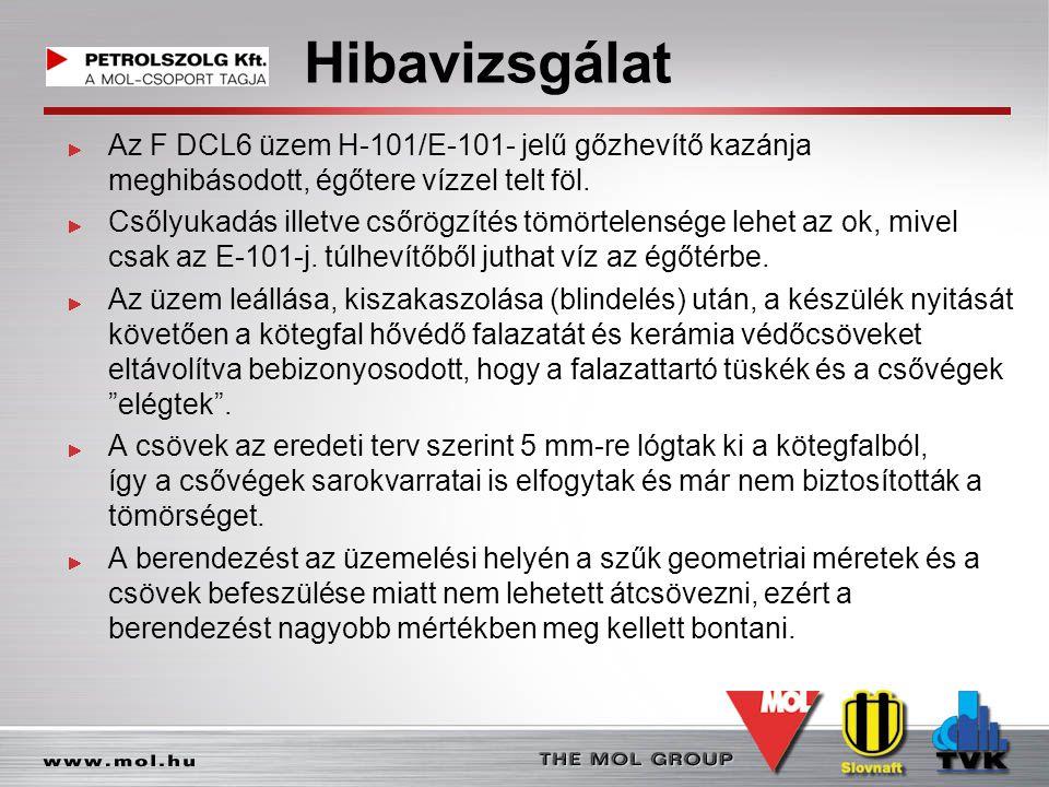Hibavizsgálat Az F DCL6 üzem H-101/E-101- jelű gőzhevítő kazánja meghibásodott, égőtere vízzel telt föl. Csőlyukadás illetve csőrögzítés tömörtelenség