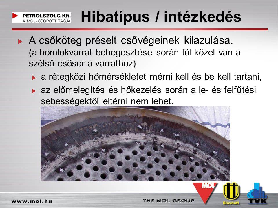 Hibatípus / intézkedés A csőköteg préselt csővégeinek kilazulása. (a homlokvarrat behegesztése során túl közel van a szélső csősor a varrathoz) a réte