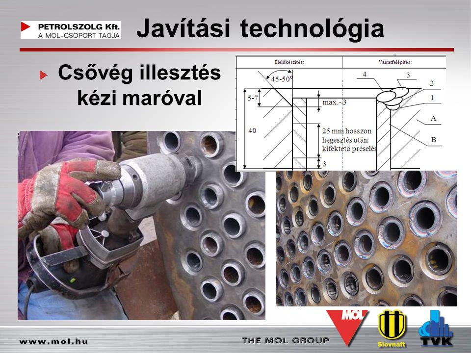 Javítási technológia Csővég illesztés kézi maróval