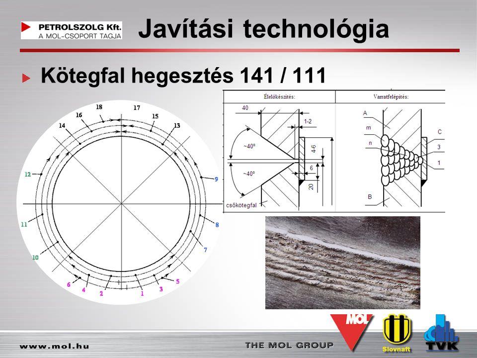 Javítási technológia Kötegfal hegesztés 141 / 111