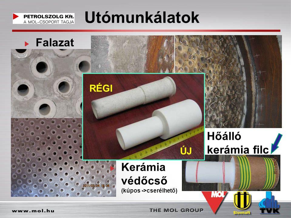 Utómunkálatok Falazat Kerámia védőcső (kúpos ->cserélhető) Hőálló kerámia filc RÉGI ÚJ
