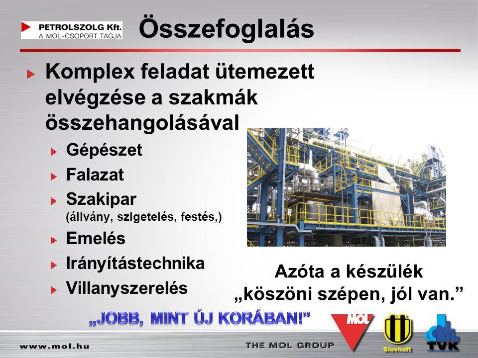 Összefoglalás Komplex feladat ütemezett elvégzése a szakmák összehangolásával Gépészet Falazat Szakipar (állvány, szigetelés, festés,) Emelés Irányítá