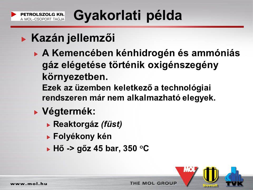 Gyakorlati példa Kazán jellemzői A Kemencében kénhidrogén és ammóniás gáz elégetése történik oxigénszegény környezetben. Ezek az üzemben keletkező a t